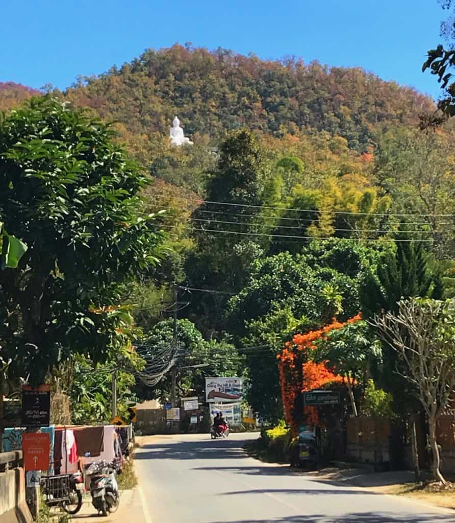Wat Phra That Mae Yen (Buddha) is located 300 steps up in the Pai hills
